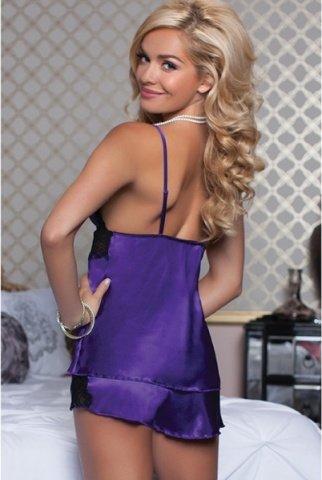 Очаровательные сорочка и шортики фиолетовые L, фото 3