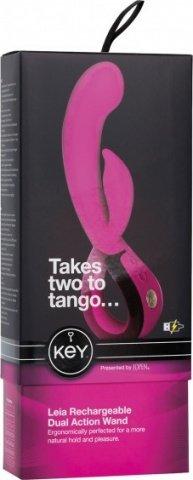 Вибратор с клиторальным стимулятором Key by Jopen - Leia - Raspberry Pink розовый, фото 2