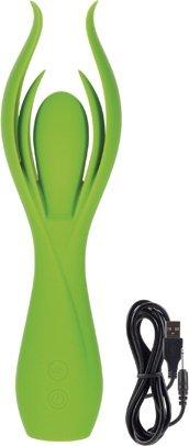 Вибромассажер с двойными лепестками lust by jopen l7 перезаряжаемый зеленый, фото 4