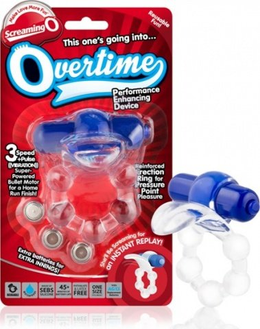 Вибро-кольцо с язычком и красным виброэлементом Overtime