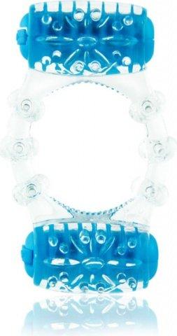 Кольцо с двумя вибро-элементами Two-O голубое, фото 2