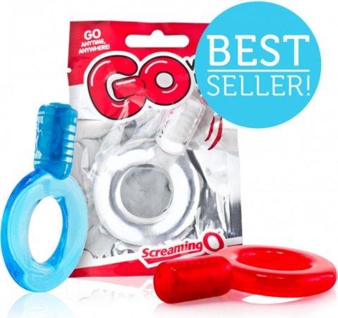 Голубое упругое кольцо на пенис с вибрацией GO