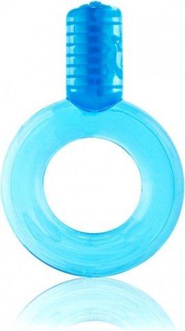Голубое упругое кольцо на пенис с вибрацией GO, фото 2