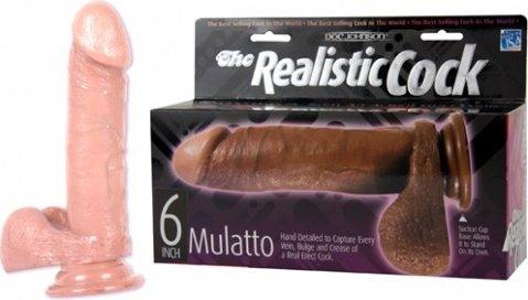 Фаллоимитатор реалистичный 6 мулат 20 см, фото 4