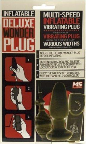 Надувная анальная пробка с вибрацией deluxe wonder plug