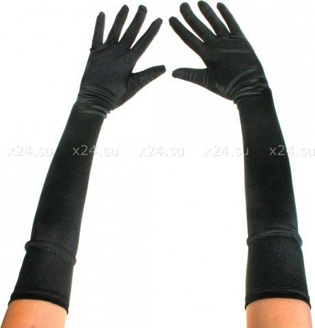 Перчатки черные длинные атласные