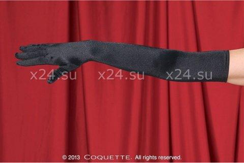 Перчатки черные длинные атласные, фото 2