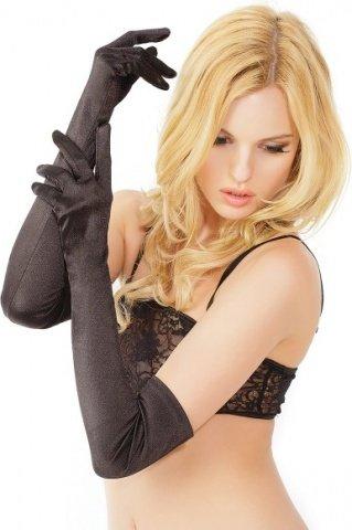 Перчатки черные длинные атласные, фото 3