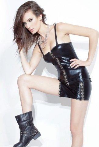 Короткое платье под кожу на затежках-крючках, фото 2