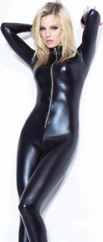 Черный глянцевый кэтсьюит под латекс на молнии, фото 2