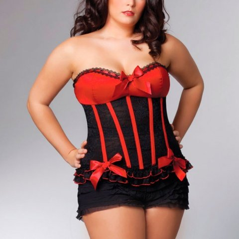 Черный корсет с красным лифом queen