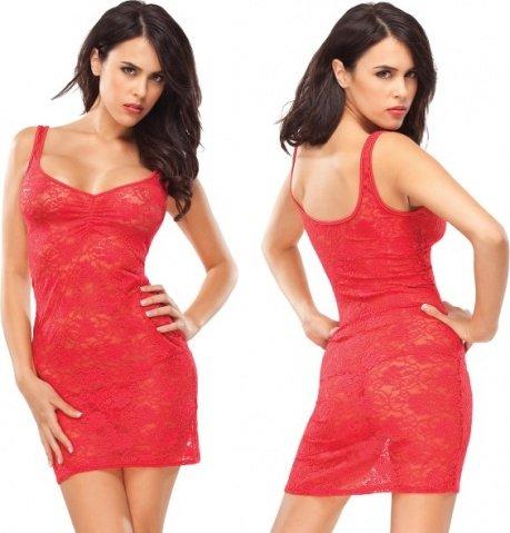 Платье из красного цветочного гипюра red heart