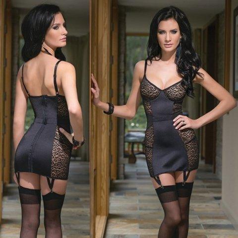 Платье со вставками под леопард