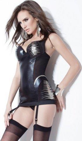 Короткое платье с серебристой отделкой, фото 2