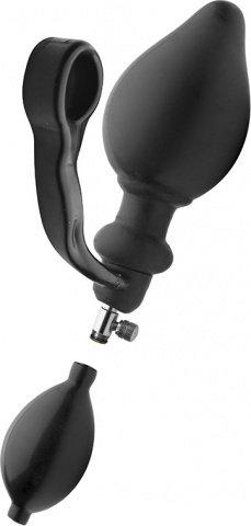 Надувная анальная пробка с кольцом на пенис expander 14 см, фото 2