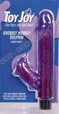 Вибратор с клиторальным стимулятором Knobbly Wobbly Dolphin 21 см, фото 10