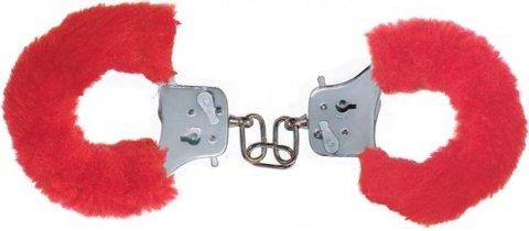 Наручники с мехом Furry Fun Cuffs Red 9504TJ, фото 2