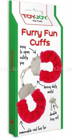 Наручники с мехом Furry Fun Cuffs Red 9504TJ, фото 3