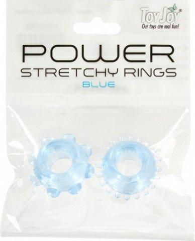 Набор эрекционных колец Power Stretchy Rings - Toy Joy (2 шт), цвет Голубой, фото 3