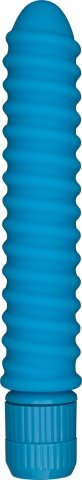 Вибратор Funky Ribbed Vibe, ребристый, силикон, голубой, 20 х150 мм 15 см