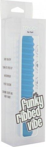 Вибратор Funky Ribbed Vibe, ребристый, силикон, голубой, 20 х150 мм 15 см, фото 2