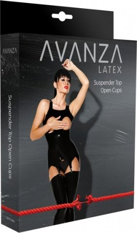 Латексный топ с открытой грудью (Avanza), цвет Черный, размер M, фото 2