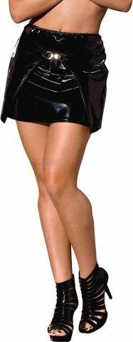 Виниловая юбка цвет Черный, размер L, фото 4