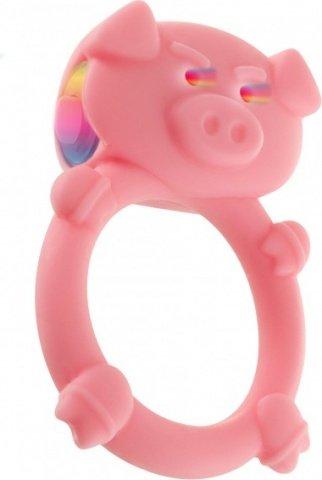 Кольцо на пенис с вибрацией mad piggy c-ring pink