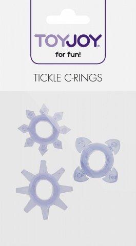 Комплект колец на пенис tickle c-rings purple, фото 2