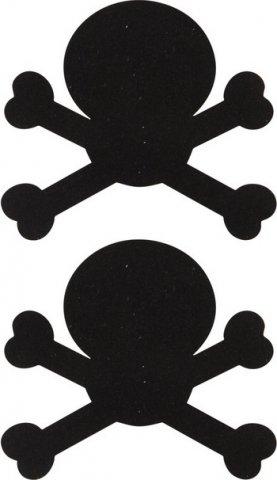 Украшение на соски Nipple Stickers в форме черепов черное, фото 2