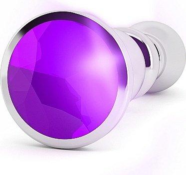 анальная пробка 4,8 r2 rich silver/purple sapphire sh-ric002sil, фото 2