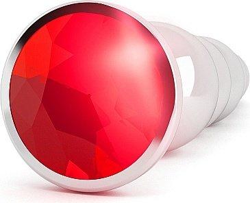 анальная пробка 4,9 r5 rich silver/red sapphire sh-ric005sil, фото 2