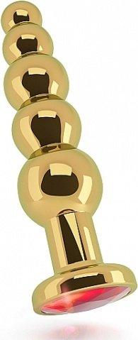 анальная пробка 4,9 r5 rich gold/red sapphire sh-ric005gld