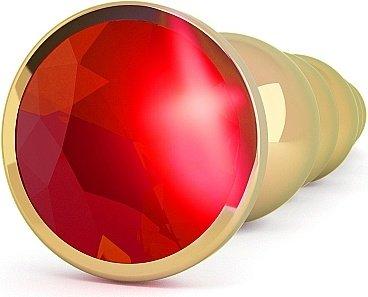 анальная пробка 4,9 r5 rich gold/red sapphire sh-ric005gld, фото 2