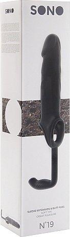 насадка на пенис с анальным стимулятором черная sono sh-son019blk 24 см, фото 2