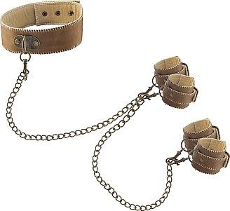 кожанный ошейник с наручниками ouch! brown sh-ou167brn