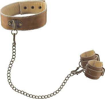 ошейник с наручниками ouch! brown sh-ou169brn