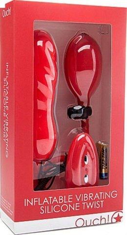 Анальный расширитель Inflatable Twist с вибрацией, силикон, красный, 61 х131 мм, фото 2