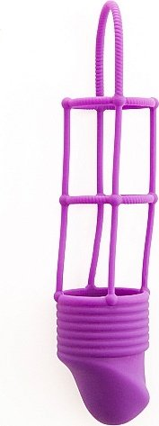 Насадка на пенис Ribbed Cockcage Purple SH-SHT211PUR 19 см