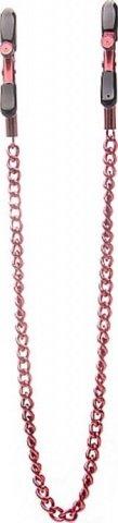 Зажимы для груди с цепочкой, металл, красные