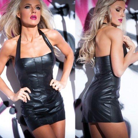 Черное клубное платье из кожи