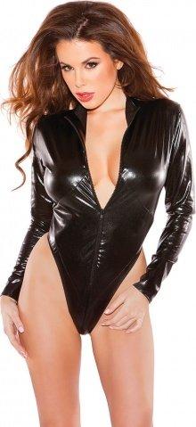 Черное боди на молнии Naughty Kitten Bodysuit (под винил), фото 3
