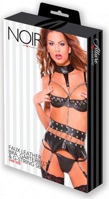 Эротичный кожаный комплект с цепями Faux Leather Bra, Garterbelt &amp, фото 2