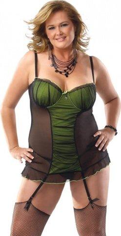 Черно-зеленое платье с лифом пуш-ап