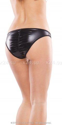 Черные трусики open-crotch со сборкой на попке, фото 2