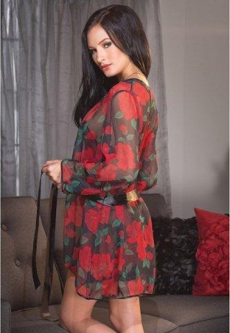 Черный халат с красным розами, фото 3