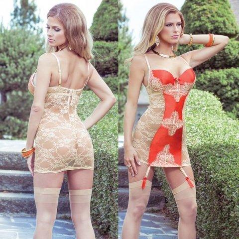 Платье с кружевной спиной и контрастной вставкой sexy terracottas