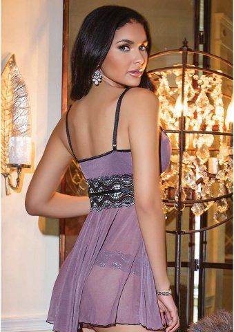 Розовато-лиловый комплект с блестящим кружевом, фото 3