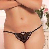 Черные трусики-бабочка с пайетками open-crotch - Секс-шоп Мир Оргазма