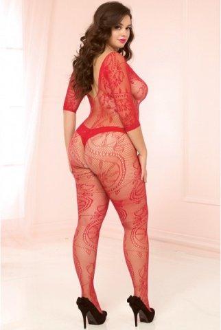 Красный кэтсьюит большого размера open-crotch с необычным цветочным орнаментом, фото 3